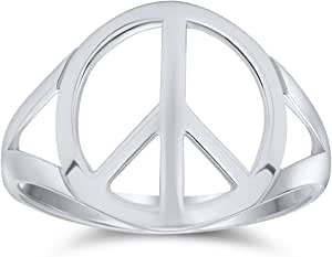 Open Symbol World Peace Sign Ring For Teen For Women 925 Sterling Silver Spilt Shank Band