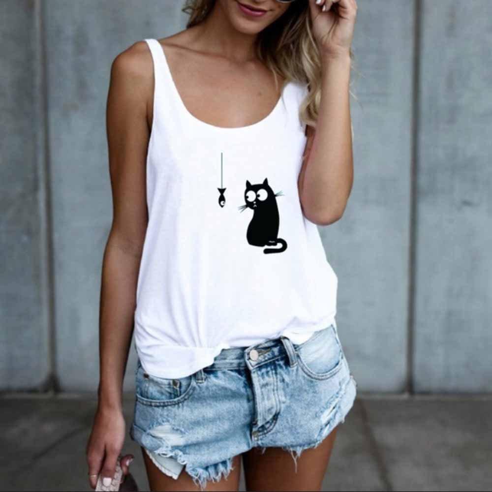 Auifor Moda Mujer Gato Imprimir Casual Camiseta sin Mangas Blusa ...