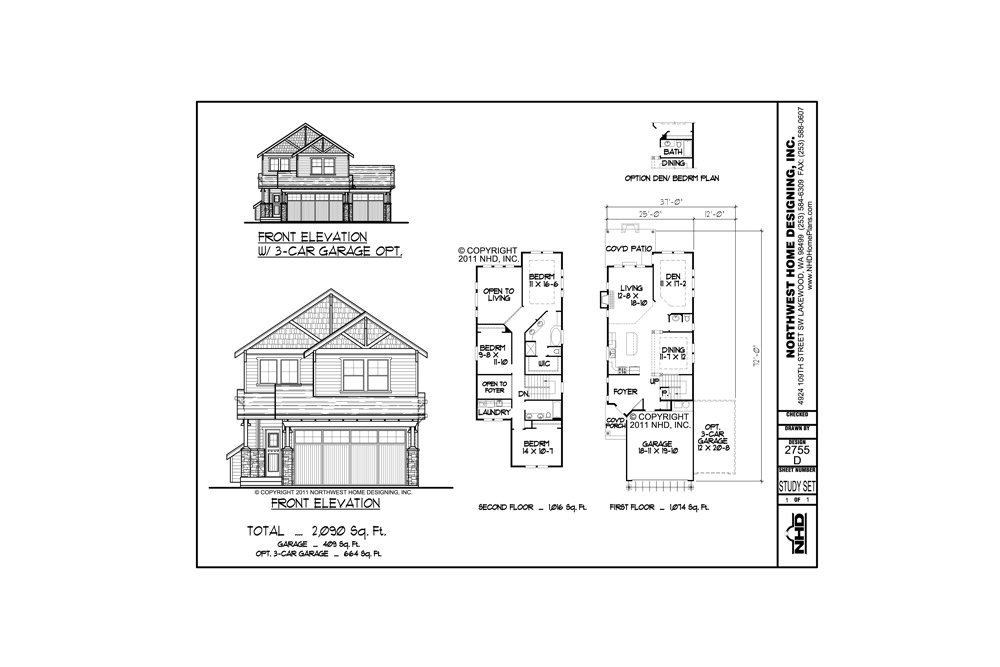Home Plan Blueprints Package Design Nhd 2755 D Two Story