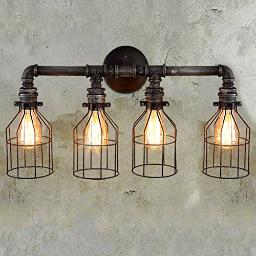 Fixture Wire (JINGUO Lighting Large Mottled Iron 4 Lights Pipe Wall Lamp Wall Sconce Lamp Wall Light Fixture with Wire Guard in Industrial Style for Kitchen Restaurant Cafe Bar Living Room Warehouse)