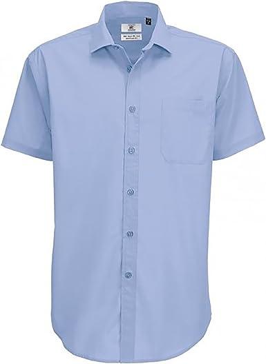 B&C - Camisa de Manga Corta Modelo Smart (Tallas Grandes) para Hombre Caballero - Fiesta/Trabajo/Eventos Importantes: Amazon.es: Ropa y accesorios