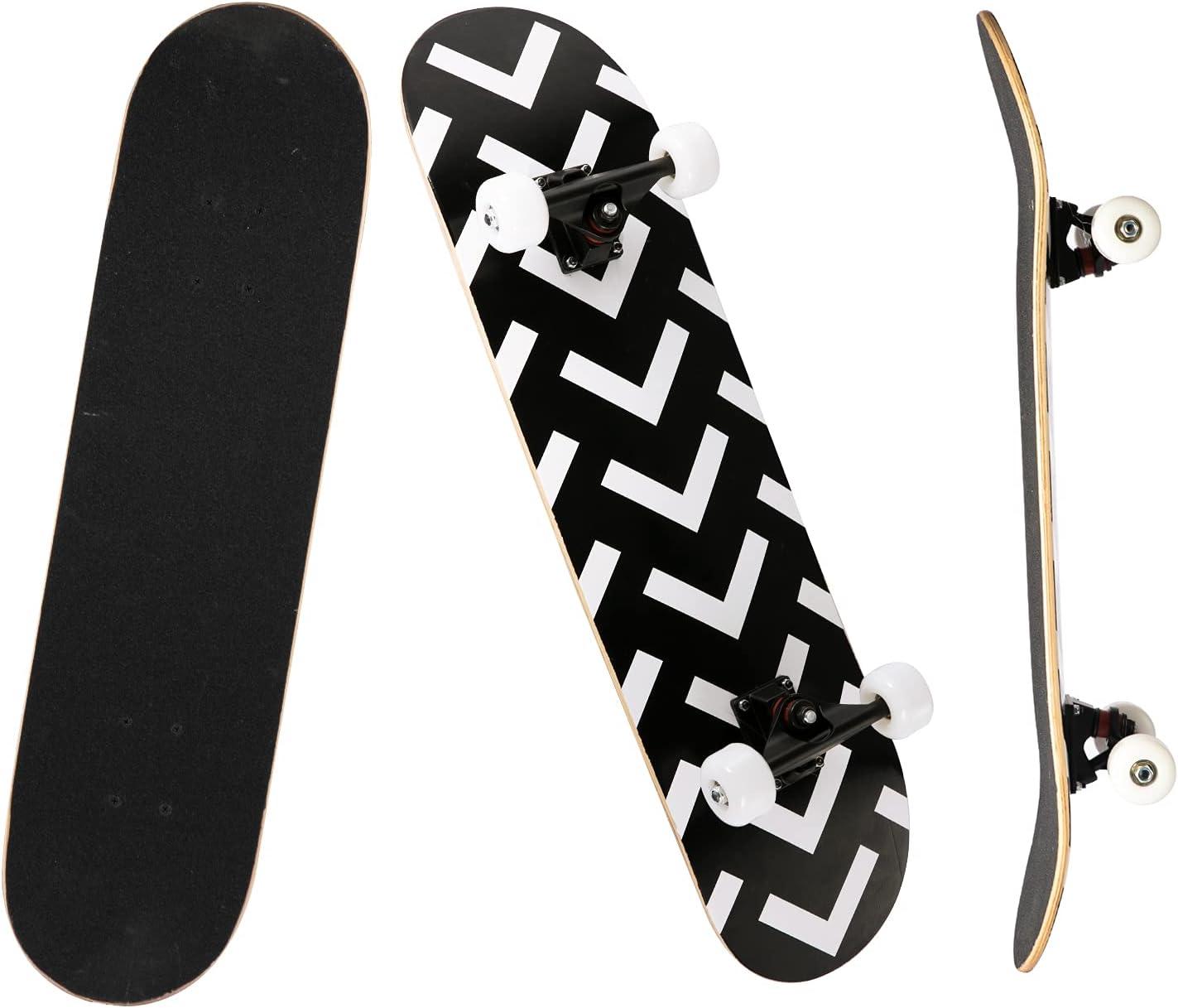 YUDOXN Completo Skateboard para Principiantes, 80x20(cm) monopatín Skate Madera de Arce para Adolescentes, niños, niñas. 7 Capas Monopatín de Madera de Arce con Rodamiento ABEC-7.