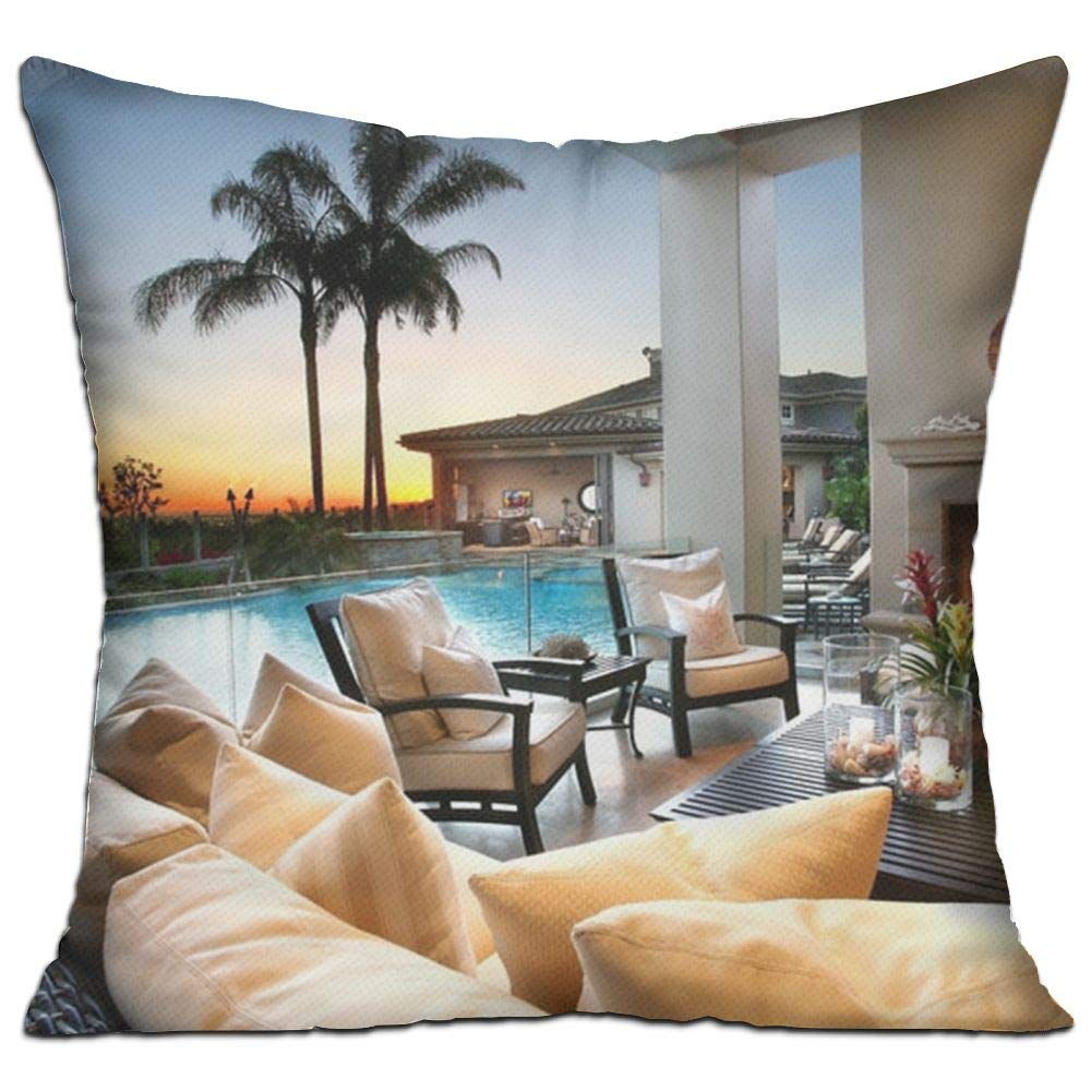 Shing Chair Design Fireplace Holiday Hotel Interior Living Room Palm Trees Photography Sofa Sunset Swimming Pool Double Side Print Sofa Decor White One Size Throw Pillow Square 18'' X 18''inch