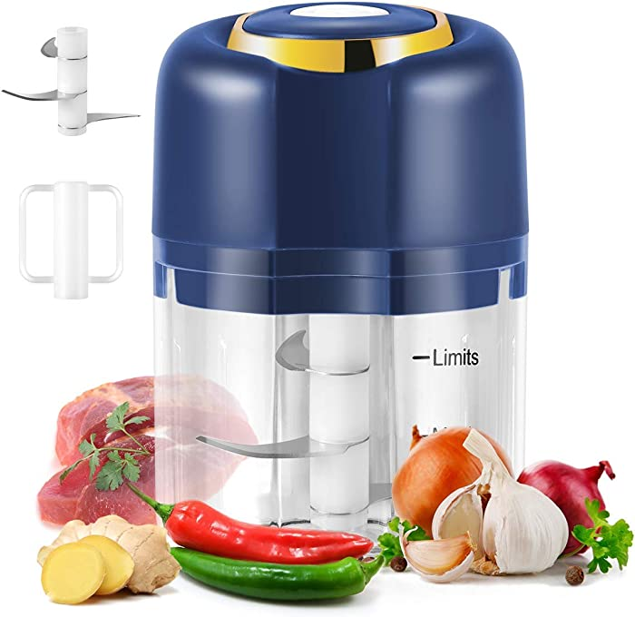 Electric Garlic Chopper, USB Charging Portable Electric Food Chopper with 3 Sharp Blades and 250ML Blender Cup, Electric Mini Food Chopper for Baby Food,Garlic,Chili,Vegetable,Nuts,Meat