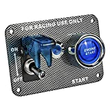 Jtron DC12V Racing Car Ignition Switch Panel Carbon Fiber Rocking Switch+Engine Start Push Button With Indicator Light (Blue)