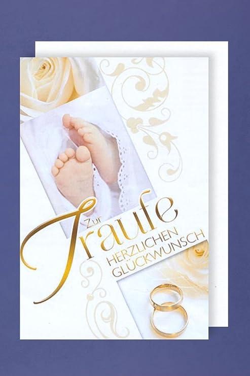 Traufe Hochzeit Taufe Grußkarte Karte Ringe Füße 16x11cm