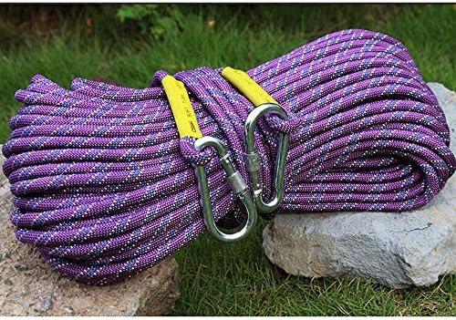 クライミングロープ、アウトドアクライミングロープレスキューエスケープロープスピードドロップスタティックロープ着用安全ロープ、直径10.5 mm。,20m-Purple