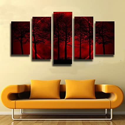 Amazon.com: Oil Painting Canvas Wall Art Red Moon Sky Tree Painting ...