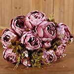 Luyue-Vintage-Artificial-Peony-Silk-Flowers-Bouquet-Cameo-Brown