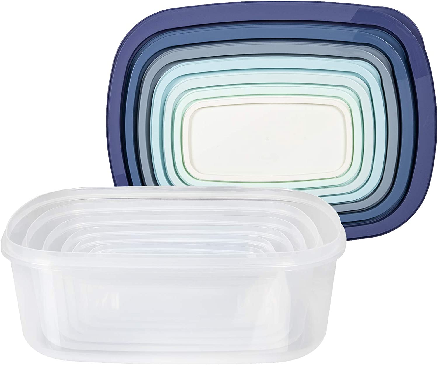 Cook with Color Rectangular Food Storage Containers with Lids, Easy-Find Nesting Plastic Containers, 14 Piece Set (Blue Ombre)