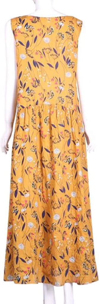 kolila damska Plus Size luźna sukienka vintage bez rękawÓw nadruk kwiatowy kamizelka Tank długa sukienka luźna sukienka Boho Maxi: Odzież