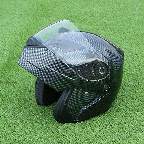 Snowmobile Full Face Modular Helmet (XFMT Dot Carbon Fiber Flip Up Modular Full Face Street Helmet Motorcycle Street Sport Helmet S)