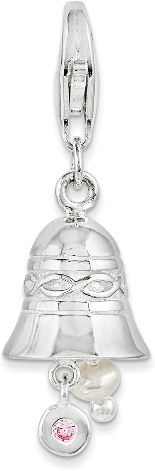 SS RH Wedding Bell with CZ And FW Cultured Pearl w//Lobster