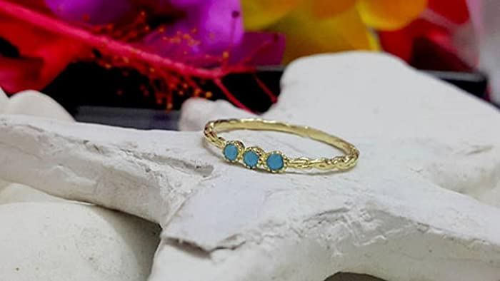Amazon Com Turquoise Ring Gold Ring Stack Band December Ring
