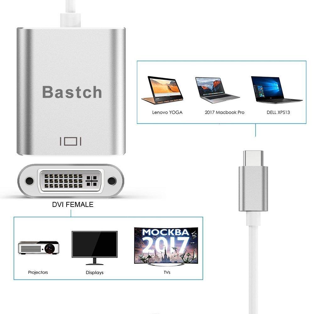 to DVI Adapter With Aluminium Case for 2017 MacBook Pro//Samsung Galaxy S8 USB-C USB C TO DVI Adapter,Bastch USB 3.1 Type C