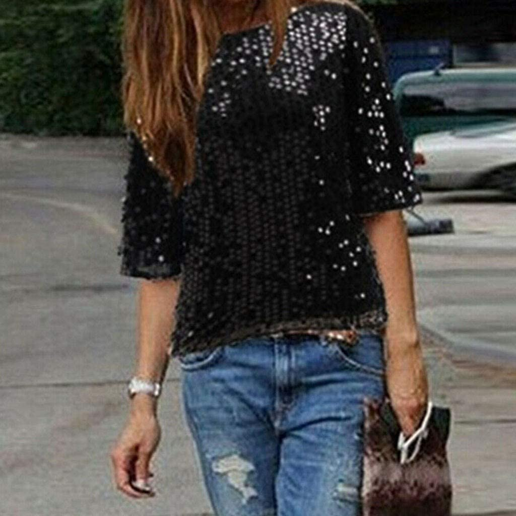 HOT Sequin Womens Lady Sparkle Glitter Tank Coctail Party Top T-Shirt