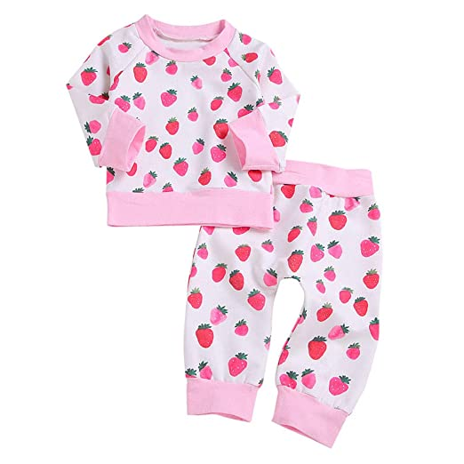 de4cb7d584f Amazon.com  2PC Newborn Baby Cotton Sleepwear Outfit 0-24 Months 🎅 Boys  Girls Longsleeve Cute Strawberry Print Sweatshirt Tops+Pants  Clothing