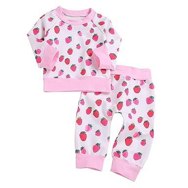 253a42bdc33 HCFKJ Ropa Bebe NiñA Invierno NiñO Manga Larga Camisetas Beb Conjuntos Moda  Top con Estampado De