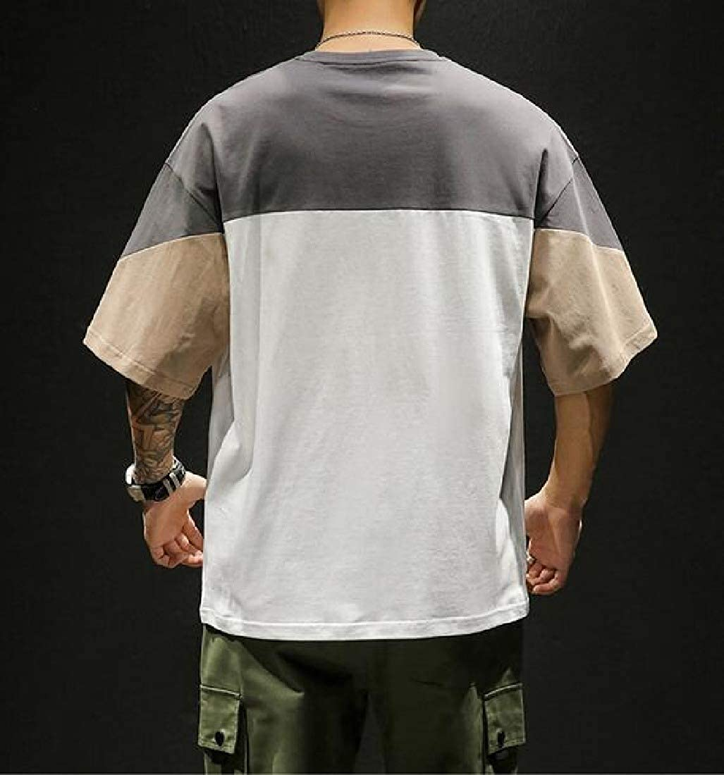 Comaba Mens T-Shirt Tops Patched Pullover Baggy Short Sleeve Tee Shirt