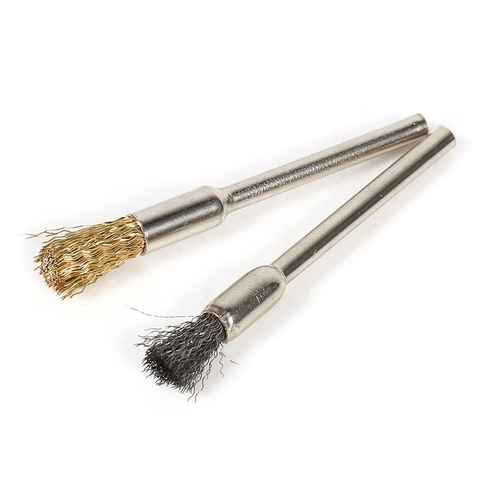 Yakamoz 36Pcs Brass Steel Rotary Tool Wire Brush Polishing Wheels Set for Dremel Buffing Accessories