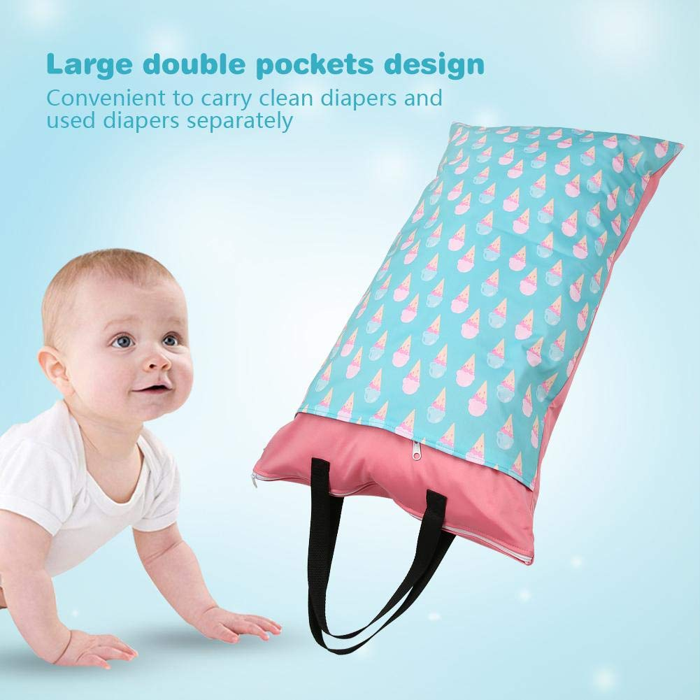 EF225 Baby Waterproof Double Zipper Diaper Bag Washable Dry Wet Nappy Travel Packing Pouch Organizer Bag 15.8/×27.6in Baby Wet Dry Cloth Diaper Bag