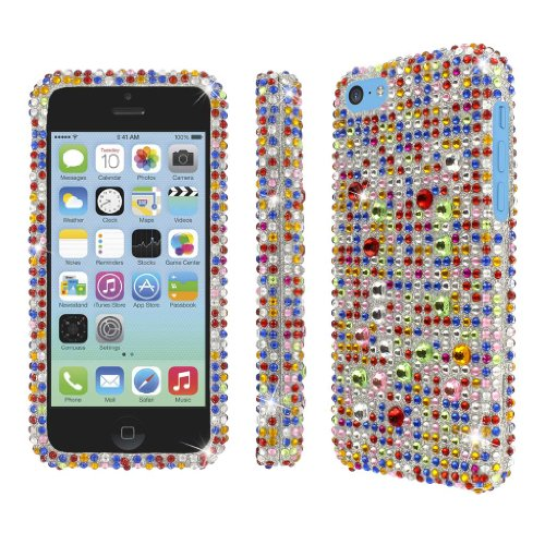 MPERO Collection Diamante Bling Silver Multi Colored Case for Apple iPhone 5C ()