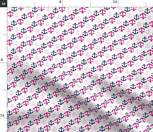 Spoonflower Pink Anchor Fabric - Anchor Pink Navy Girl Nautical Nursery Anchor Ship Anchor Pink Blue Nautical Nursery Marine by Prettygrafik Printed on Petal Signature Cotton Fabric by The Yard -