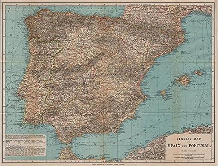 Antiqua Print Gallery España Espaã ± a Y Portugal. Presidios. Marruecos Protectorado. Iberia Mapa, 1913: Amazon.es: Hogar