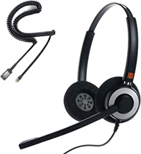 IPD IPH-165 Professional Binaural Noise Cancelling, Corded Headset with U10 Bottom Cable Works with Cisco IP 6800,7800,8000 and Some 7900 Series Phones