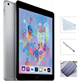 Apple iPad 6th Gen 128GB (2018 Model) with Saiborie 49 Value Accessories, Wi-Fi Only, 9.7'' Retina Display, A10 Fusion chip, Touch ID, Apple Pay, Night Shift (Space Gray)