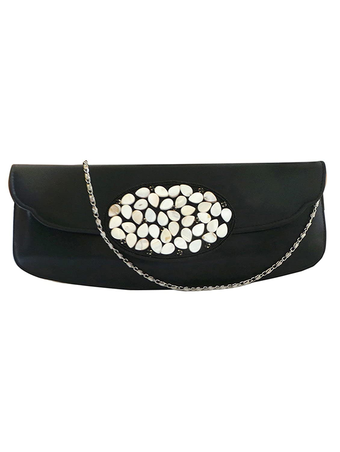 Bhamini Black Synthetic PU Clutch with Oval Shell Brooch