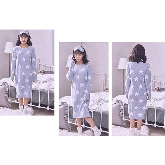 Pijamas Camisones de Manga Larga Star Sweet Lady Warm HUXIUPING (Color : Purple, Tamaño : L): Amazon.es: Hogar