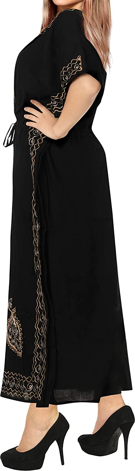 LA LEELA Womens Caftan Beach Cover Up Night Casual Evening Dress Embroidered