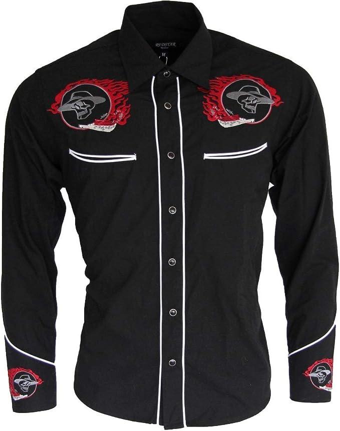 Relco Negro Motero Oeste Cowboy Vaquero Calavera Llama Bordada Camisa Hombre,