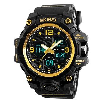 LED antigolpes para hombre Relojes de pulsera reloj reloj deportivo 50 m impermeable, hichili Militar