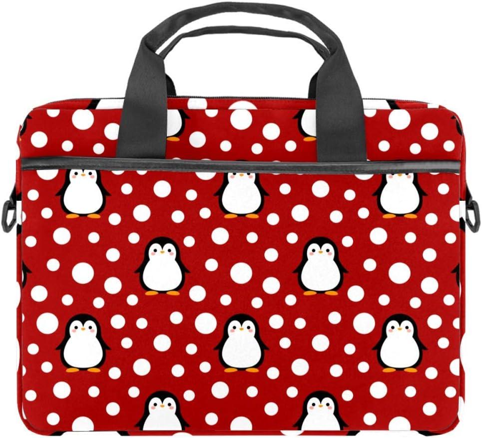 TIZORAX - Bolsa para portátil con asa (38 a 15,4 pulgadas), diseño de pingüino con lunares blancos