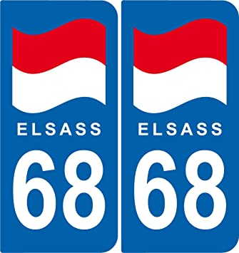 68 Haut-rhin Alsace Departement Immatriculation 2 X Autocollants Sticker Auto Automobilia