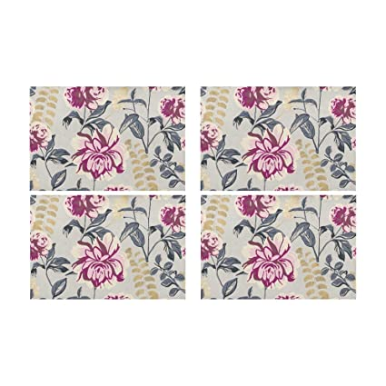 Menedo Chinese Beautiful Flower Season Kitchen Printed Stain Resistant Heat  Insulation Washable Square Table Mat Placemat fc5786750