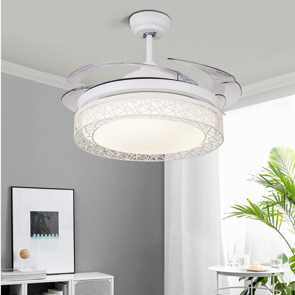 Kaluori 42 Zoll Deckenventilatoren 4 Einziehbare Lamellen LED  Deckenventilator Drei Farbwechsel Kristall Kronleuchter Mit Fernbedienung  (White): Amazon.de: ...