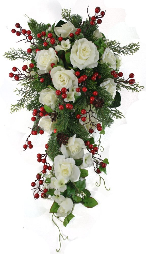 Winter Berry Rose Bridal Cascade - Silk Wedding Flower Bouquet- Ivory Red by TheBridesBouquet.com