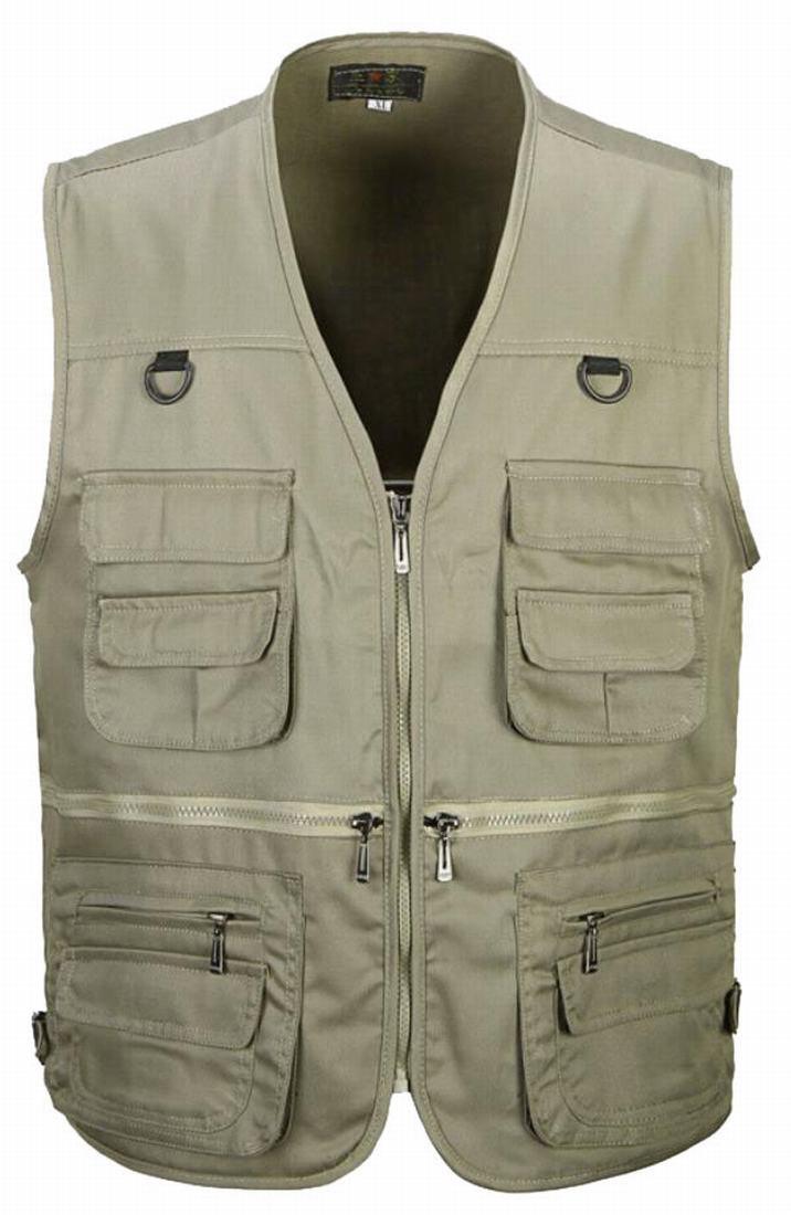 Generic Mens Casual Multi Pockets Travel Fishing Hunting Work Outdoor Photo Vest Khaki L