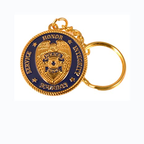 Policía Oración clave cadena azul y oro Deluxe llavero ...