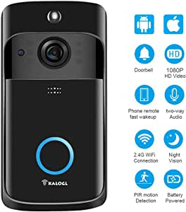 Video Doorbell [Upgrade] Wireless Doorbell Camera IP5 Waterproof HD WiFi Security Camera Real-Time Video for iOS&Android Phone, Night Light (Black