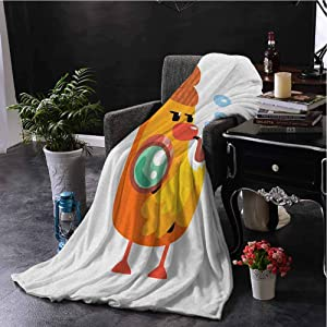 Luoiaax Cartoon Comfortable Large Blanket Private Detective Duckling Character with a Magnifying Glass and Pipe Duck Sherlock Microfiber Blanket Bed Sofa or Travel W70 x L90 Inch Multicolor