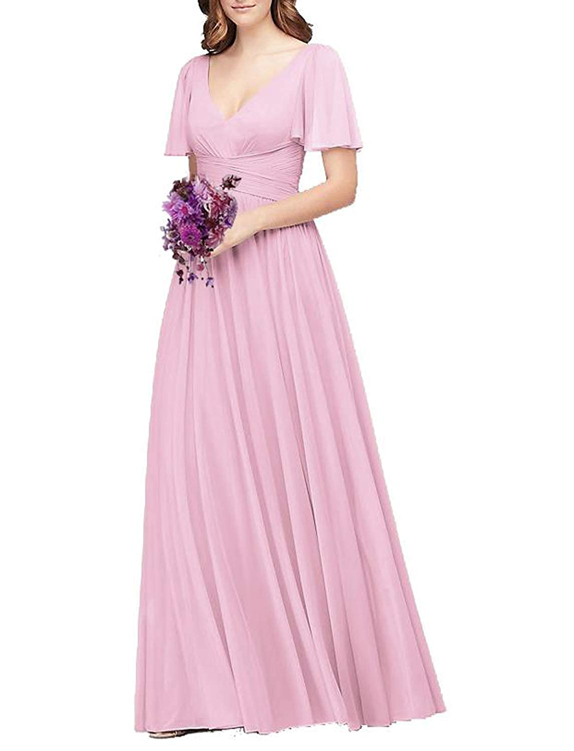Baby Pink Flutter Sleeve Long Ball Prom Gown for Women Formal Bridesmaid Dress Maxi Skirt