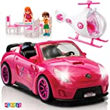 Play22 Doll Car Set of 10 - Convertible Pink Toy Car for Dolls with Lights and Sounds, Helicopter Doll, 2 Figurines, Dining Table Doll Set - Doll Accessories Set Great Gift for Girls - Original