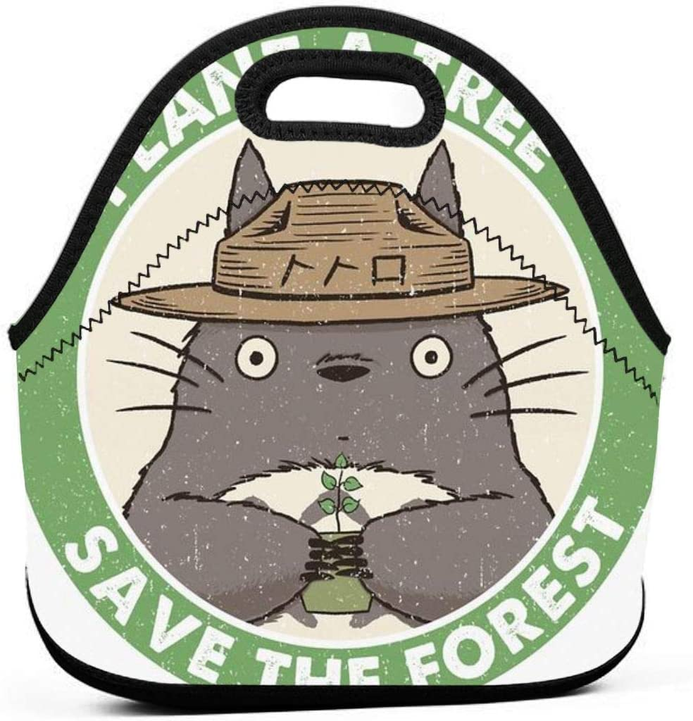 Lunch Bag Portable Tote Bento Pouch Save The Forest Totoro Lunchbox Bag Multifunctional Zipper Package For School Work Office Handbag