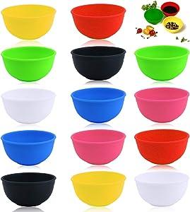 YG_Oline 14 Pcs Mini Silicone Bowls, 1.75oz Pinch Bowls Spice Bowls Silicone Mixing Bowls, 7 Colors