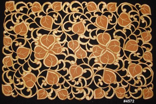 4PCS-Fall-Autumn-Thanksgiving-Harvest-Embroidered-Cutwork-Leaf-Placemats-11x17-Brown-Gold-Set-of-4-Pieces