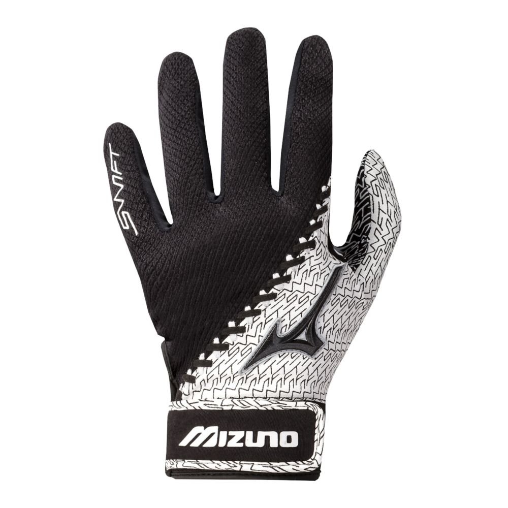 Mizuno SwiftレディースFastpitchソフトボール大人用バッティング手袋 – 3色 B00LOTXCKG X-Small|Black/White Black/White X-Small